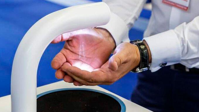 Latvian manufacturer of sensor hand sanitiser stands looking for distributors.