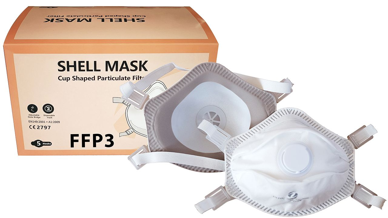 FFP3 cup masks with valve for professional use (6,000 uts)
